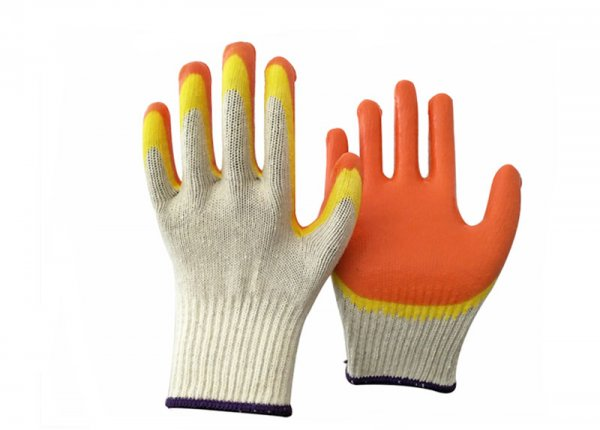 10 gauge double color latex dipped gloves