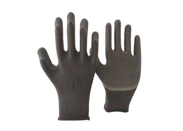 13 gauge black polyester black foam coated gloves