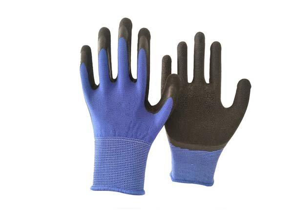 13 gauge blue polyester black foam coated gloves