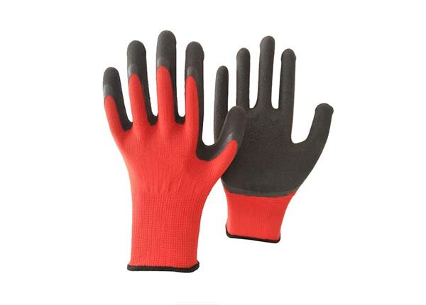 13 gauge red polyester black foam coated gloves