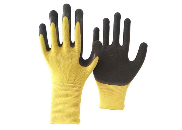 13 gauge yellow polyester black foam coated gloves
