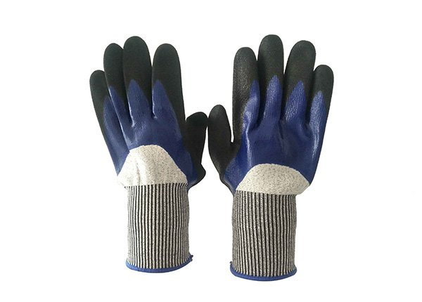 5lavel double latex dipped cut resistance glove