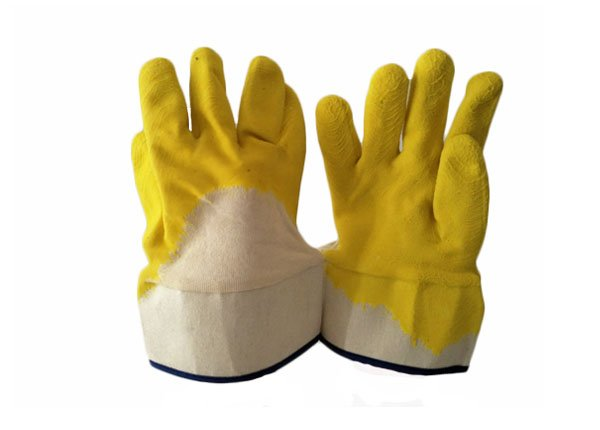 HEAVY DUTY YELLOW LATEX COATED COTTON JERSEY LINER SAFE CUFF GLOVES