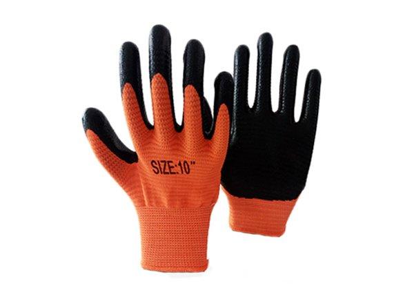 13gauge orange zebra shell nitrile coated gloves