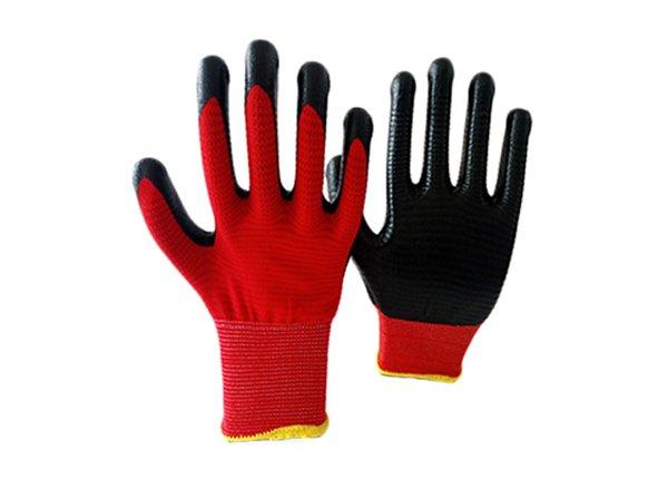 13gauge red zebra shell nitrile coated gloves