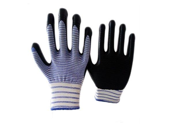 13gauge white/blue zebra shell nitrile coated gloves