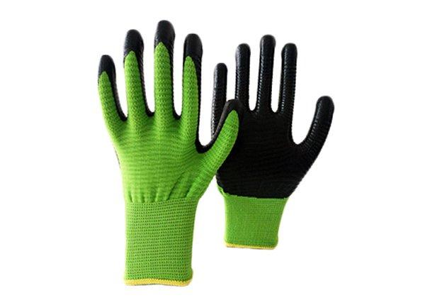 13gauge green zebra shell nitrile coated gloves