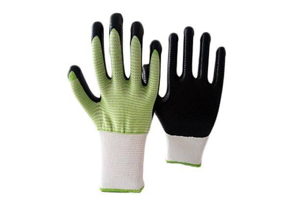 13gauge white/green zebra shell nitrile coated gloves