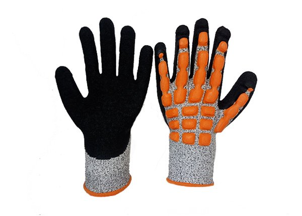 Impact resistance cut resistance 5 level latex crinkle coated gloves