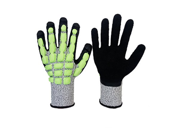 Impact resistance cut resistance 5 level latex foam coated gloves