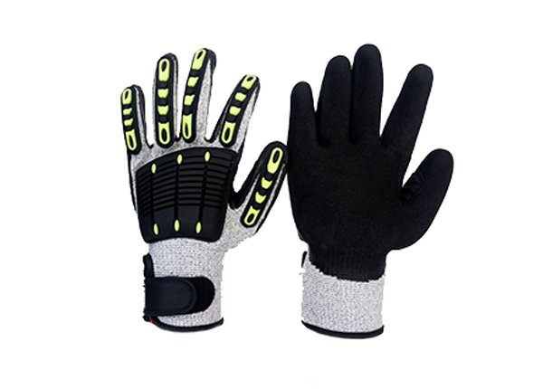 Nitrile sandy palm coated TPR high performance  mechanic impact resistance gloves